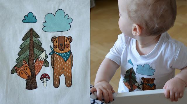 malované tričko les