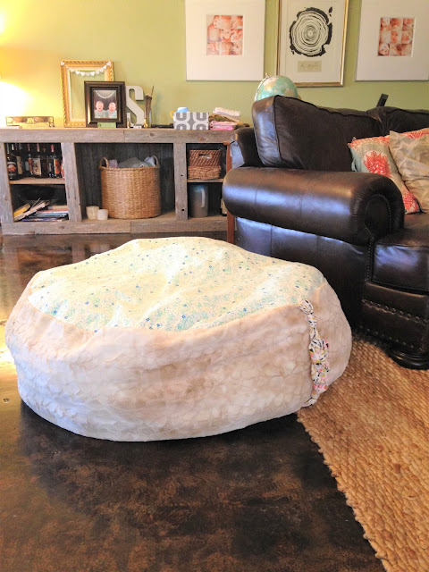 DIY tutorial for a ginormous and cozy playroom floor cushion.