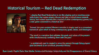 Title: Historical Tourism - Read Dead Redemption. Features an image of the Native American character, Nastas, with long black hair, dark tan skin, a red headband, a necklace with jade pendants, and a beige suit jacket. There are also all the quotes from the following text.