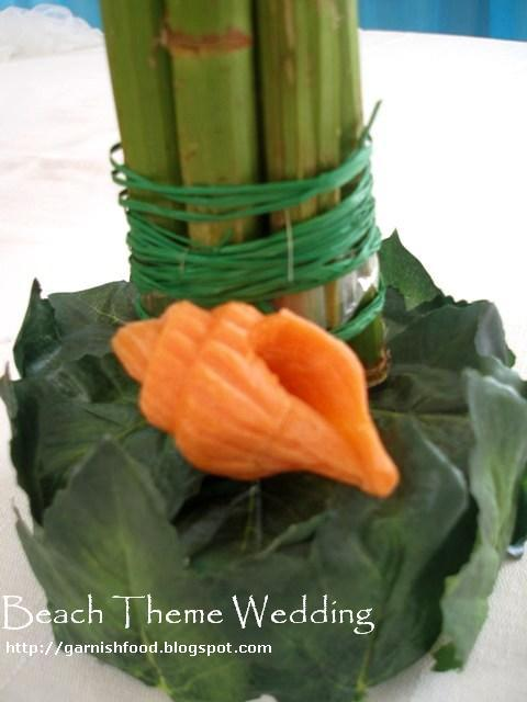 carrot carving shell for beach theme fruit carving display