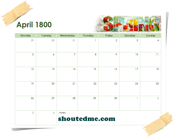 kalender tahun 1800 april