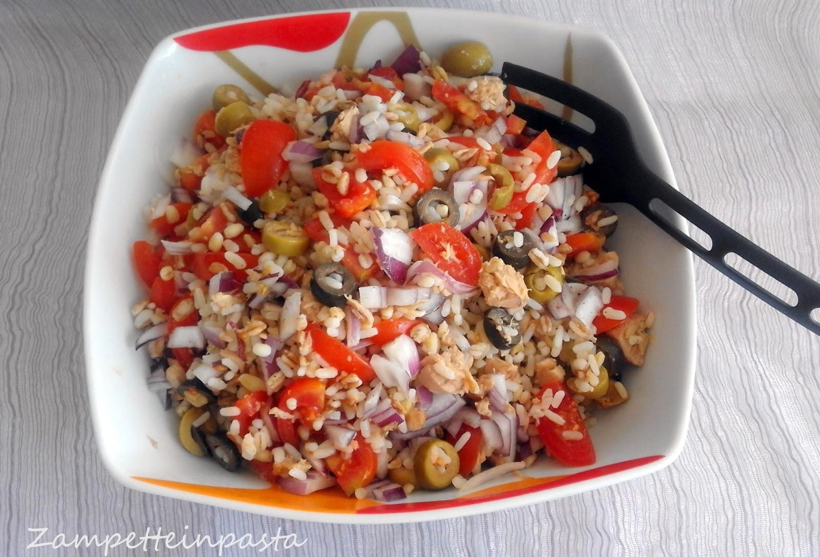 insalata ai 5 cereali con tonno pomodorini e olive