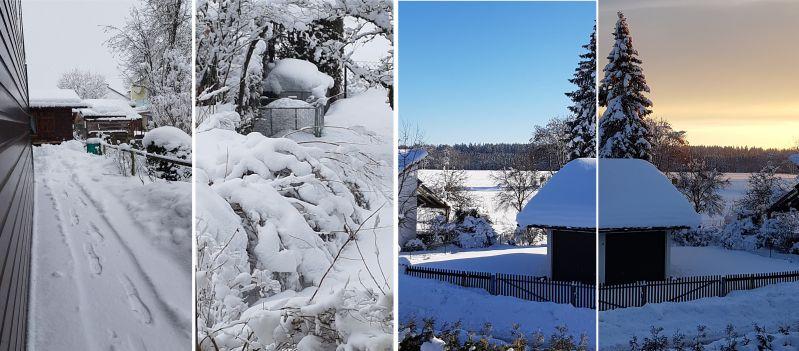 Winterlich verschneiter Garten
