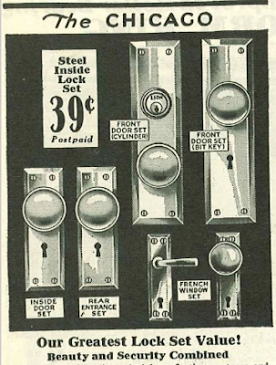 catalog image of Sears Chicago style door hardware 1930