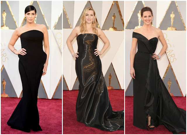 sarah silverman, kate winslet, jennifer garnder, red carpet, 2016 oscars, academy awards, black trend