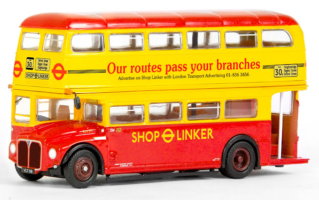 31514 - RM Routemaster - London Transport Shop Linker. Our model depicts one such Routemaster, RM 59, registered VLT 59, as it would have appeared in the first few weeks in service as a Shop Linker. Shown running out of Stockwell garage, displaying in house advertising for the shop linker service and running with the early blind displaying the 30p fare. RRP £37.50