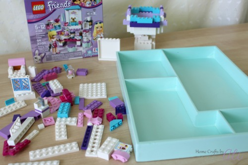 Easy tutorial to makeover a wood tray for Lego Play