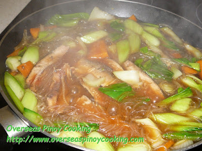 Ginisang Sotanghon with Sardinas - Cooking Procedure
