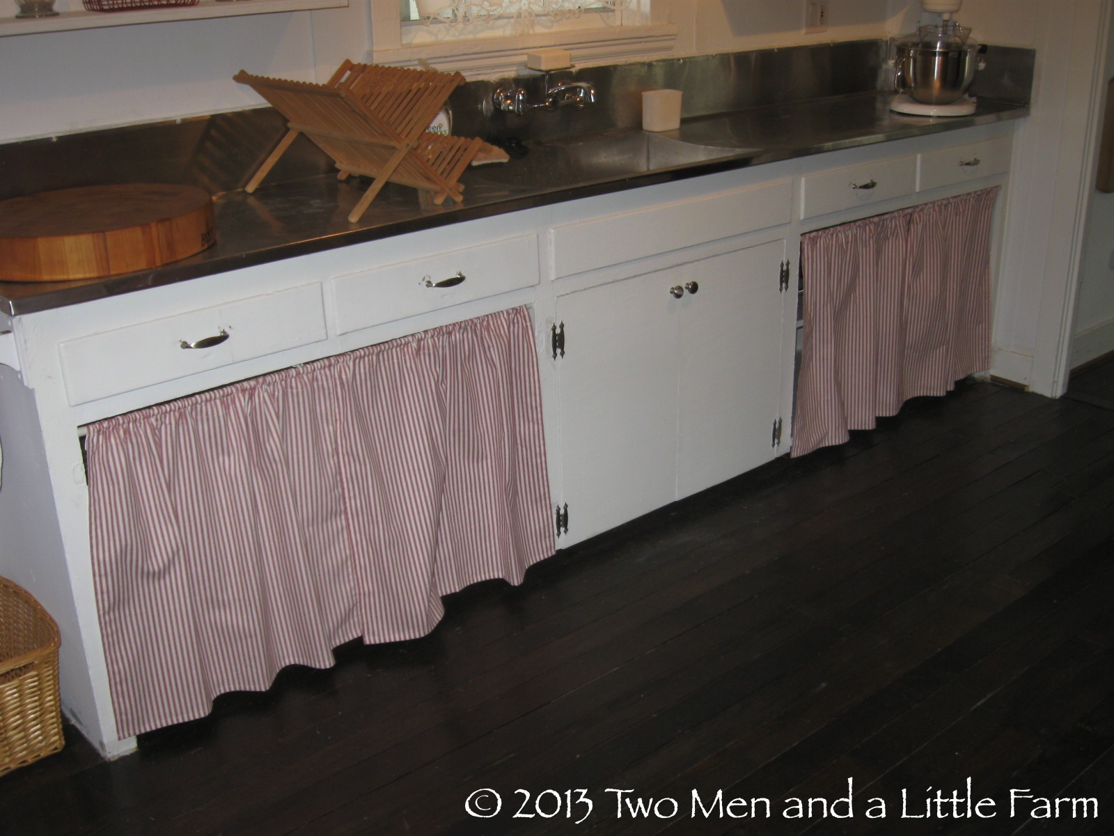 Two Men And A Little Farm Covering The Open Kitchen Cabinets With Fabric