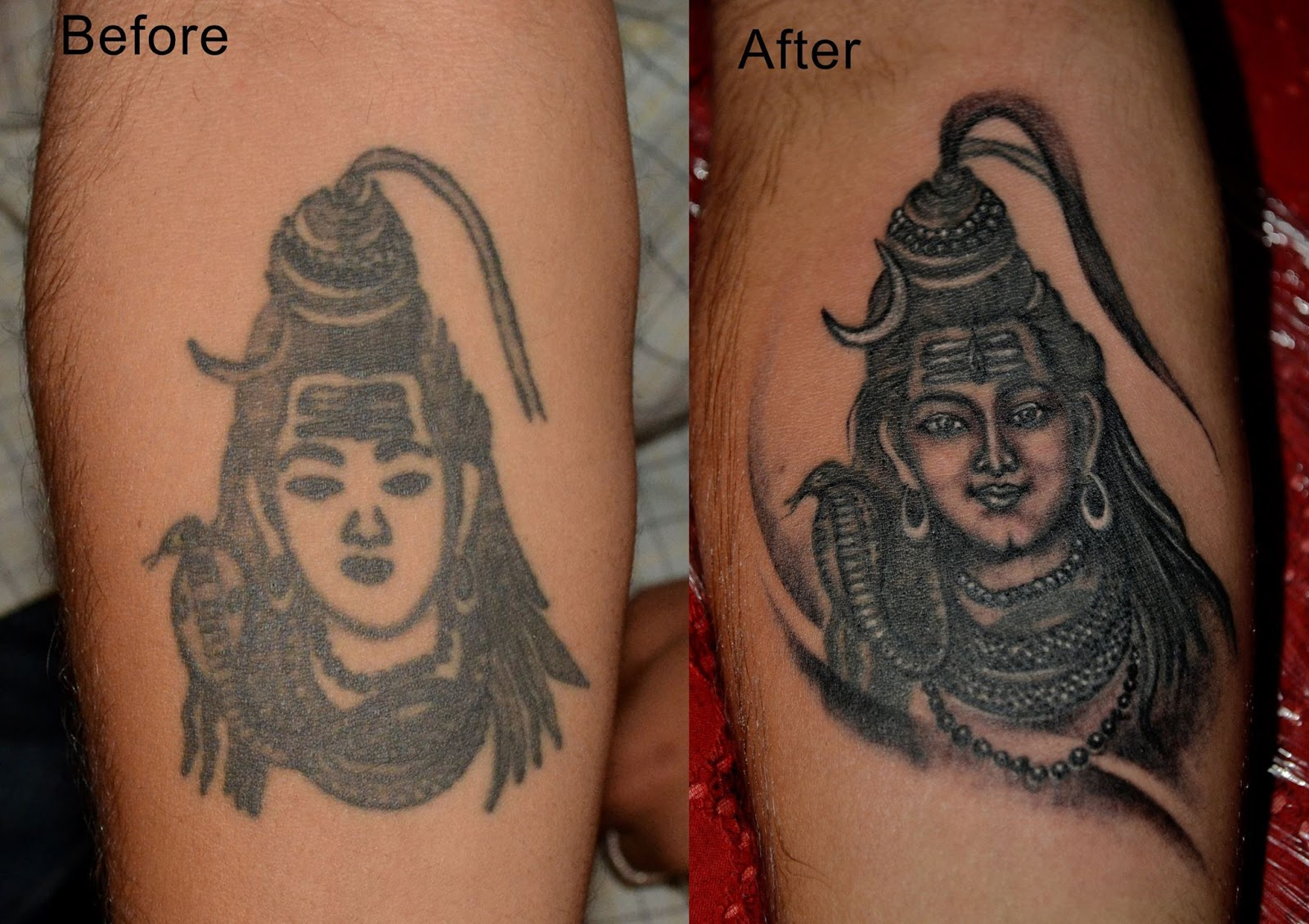 Best before after tattoo by aaryans tattoos in ahmedabad for Inkslingrz professional tattoos and body piercing