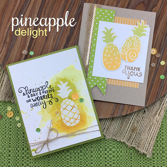 Pineapple cards by Jennifer Jackson | Pineapple Delight Stamp set by Newton's Nook Designs #newtonsnook