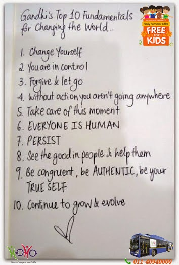 The ABC's of Gandhi's Mantra...The Top 10 Fundamentals for Changing the World, Gandhi Quotes