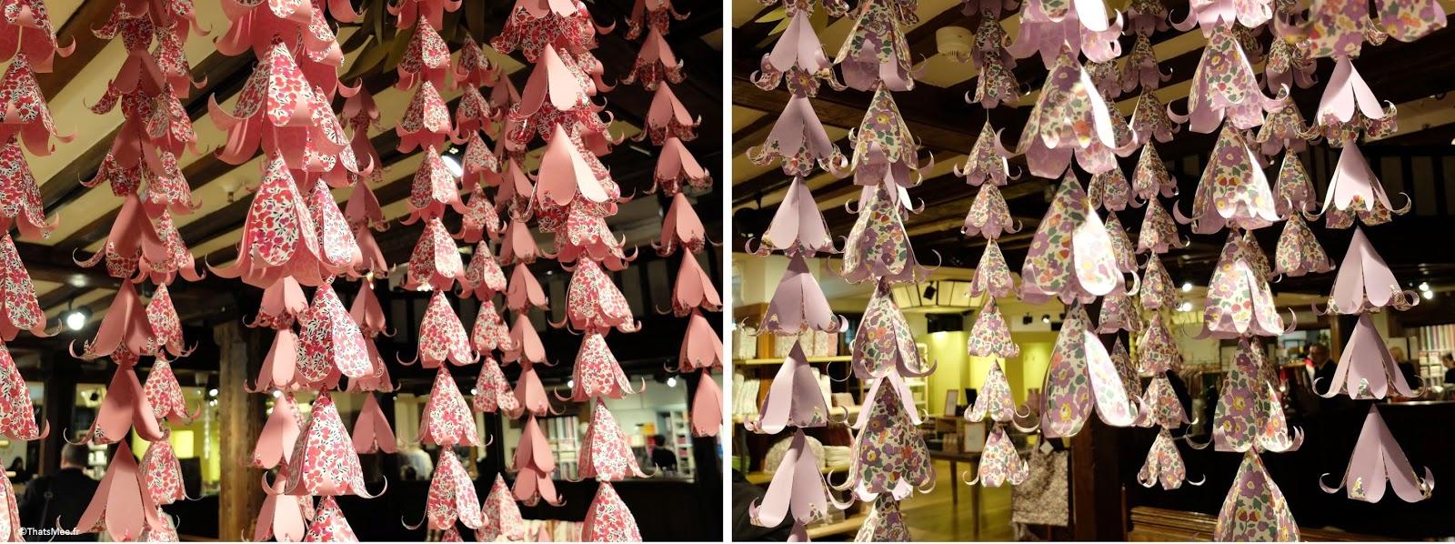 déco suspension origami papier Liberty London, Liberty London pochons lavande 5ème étage fabric tissu fleuri anglais imprimé