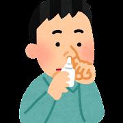 点鼻薬を使う人のイラスト
