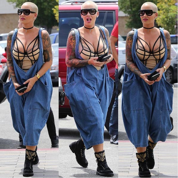 Sexy or trashy? Amber Rose rocks baggy jeans