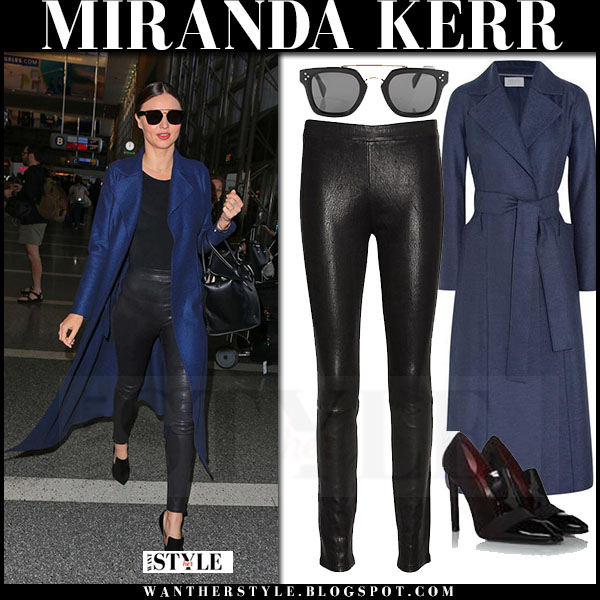 Miranda Kerr in blue harris wharf london coat and black leather j brand leggings what she wore streetstyle