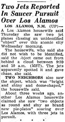 Two Jets Reported In saucer Pursuit Over Los Alamos - Pacific Stars & Stripes 8-22-1952