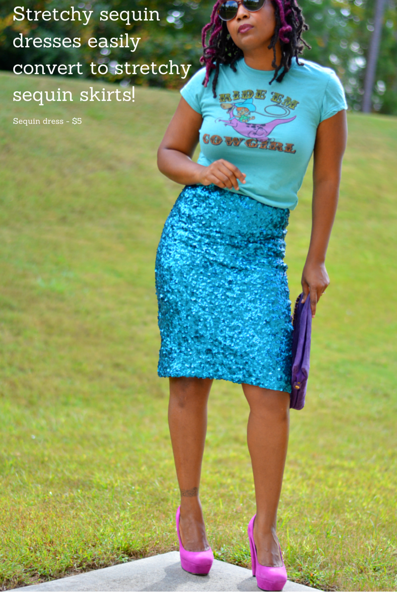 diy sequin dress to skirt