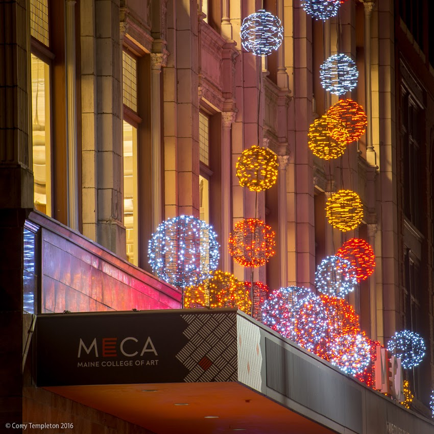 Portland, Maine USA photo by Corey Templeton November 2016 Pandora LaCasse holiday lights in front of Maine College of Art MECA on Congress Street.