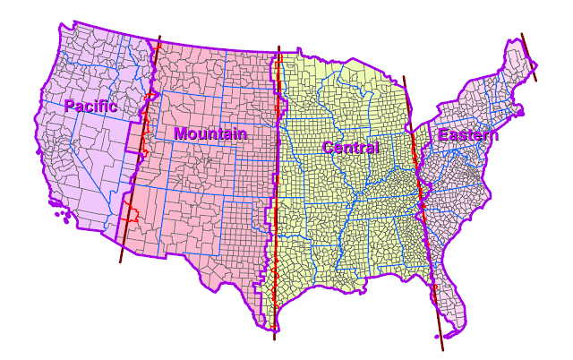 Detailed Us Time Zone Map - Us map detailed