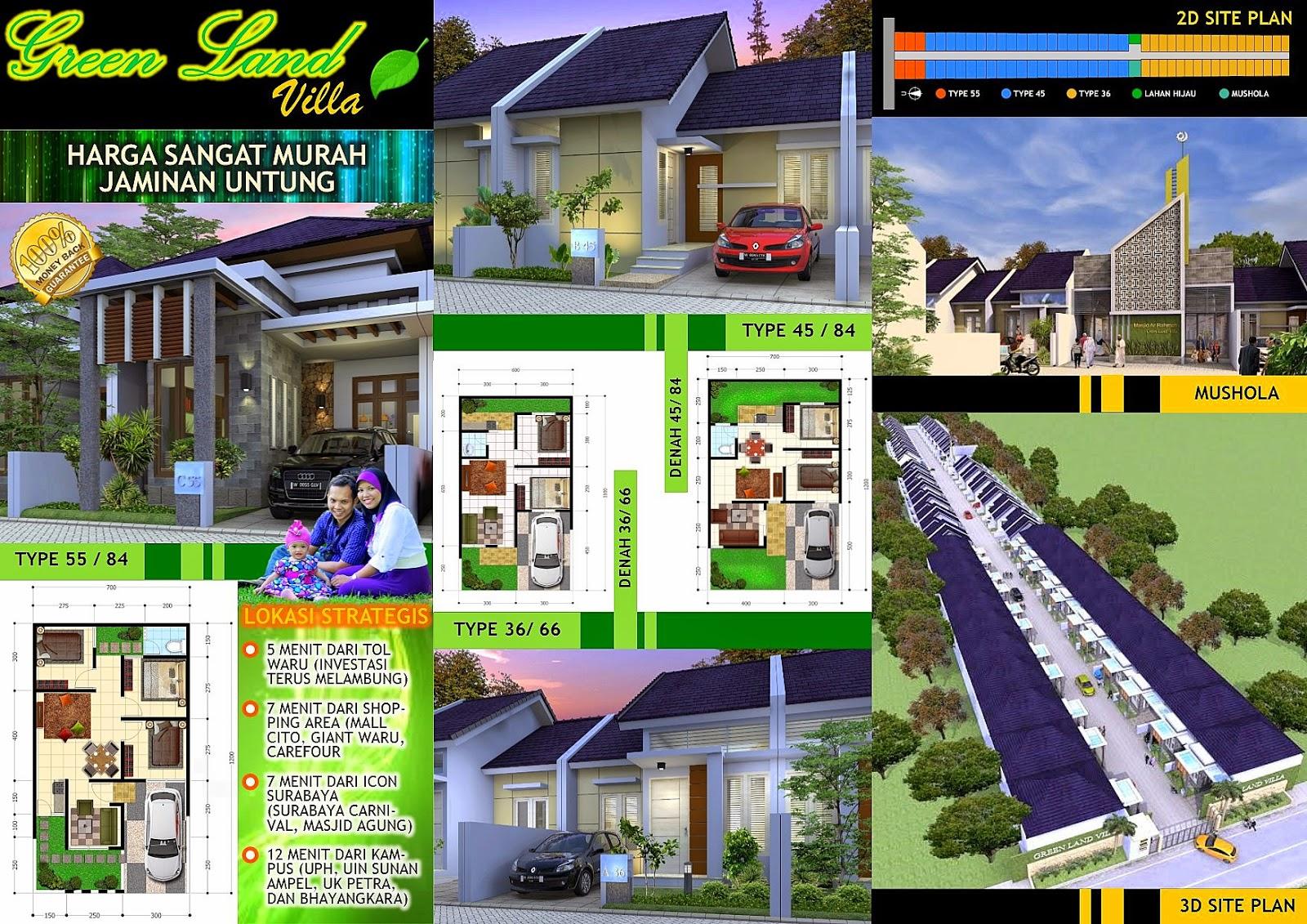 Hasil Jasa Desain Rumah Minimalis - Perumahan Green Land Villa - Brosur