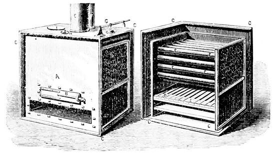 Esquema de refrigerador basado en el modelo de Oliver Evans