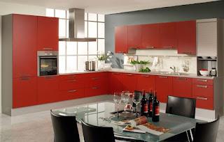 cocina color gris y rojo