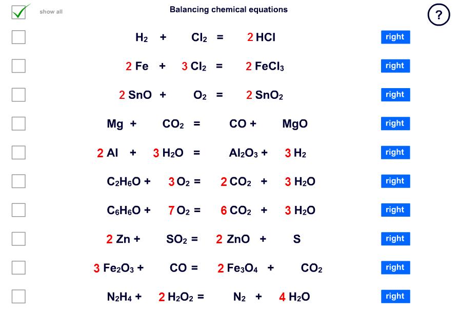 Balancing Chemistry Equations