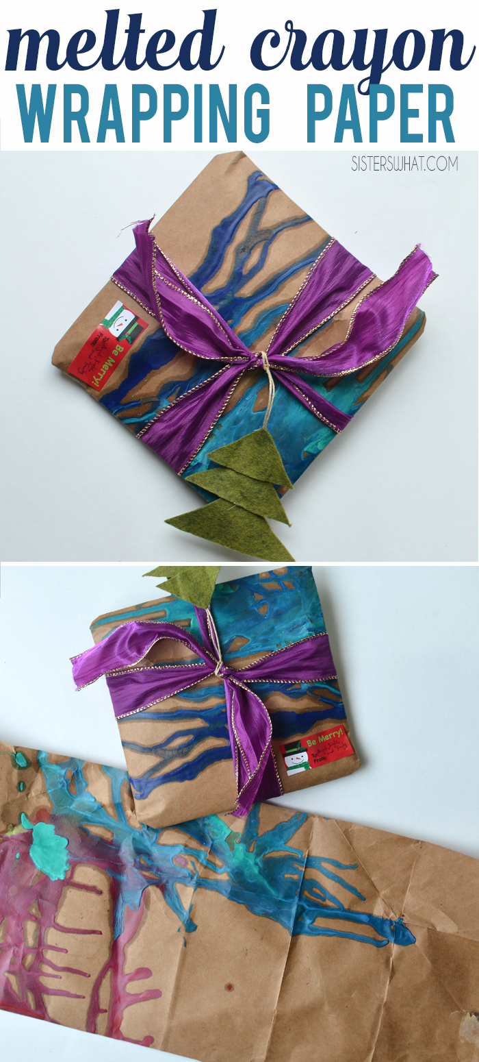 DIY wrapping paper melting crayons onto brown paper package - reduce reuse recycle wrapping paper