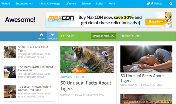 The Awesome mag blogger template is the fully responsive template