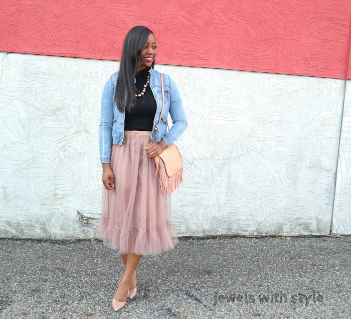 how to wear a tulle skirt, blush skirt, how to wear a fancy skirt, casual way to wear a fancy skirt, jean jacket & skirt outfit, monochromatic outfit, how to wear blush, fringe purse, jewels with style, columbus ohio blogger, columbus ohio fashion stylist, columbus ohio warrobe stylist, black fashion blogger, black style blogger