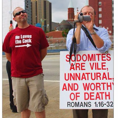 Funny gay protest picture - Sodomites are vile, unnatural and worthy of death. He loves the cock