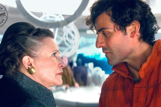 Leia (Carrie Fisher) Poe Dameron (Oscar Isaac)
