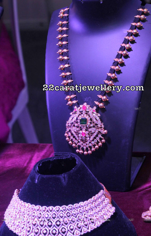Black Rope Necklace Diamond Locket
