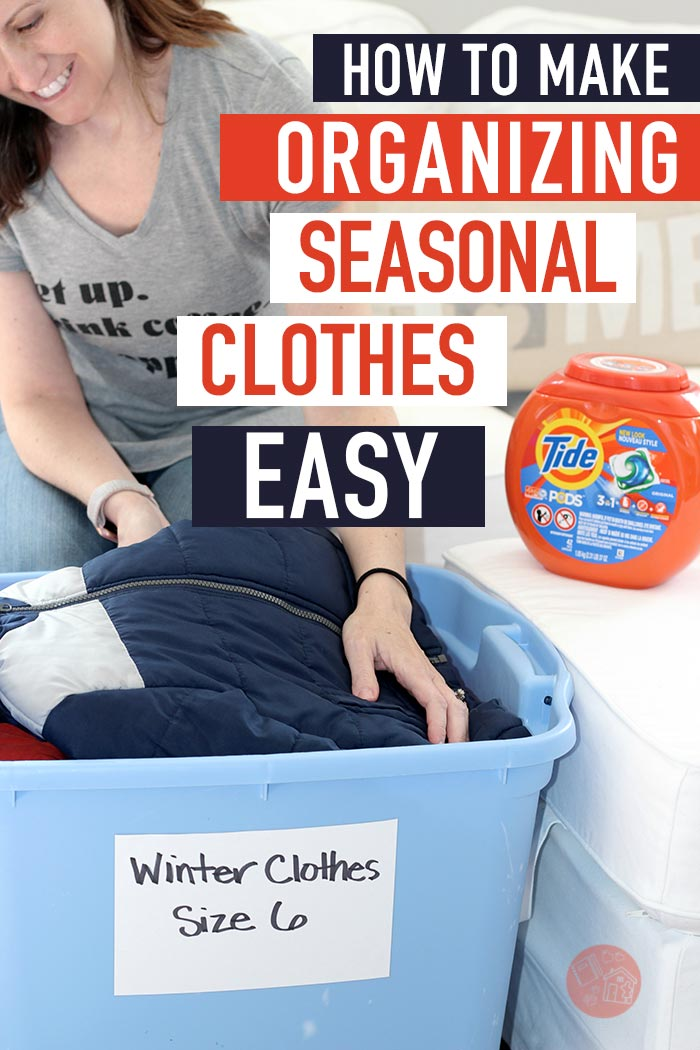 Organize your seasonal clothes with these handy tips! Packing away winter gear in spring or storing summer clothes in fall is simple with these clothes organizing tips and tricks. #sponsored #organized #tidyup #organizedhome