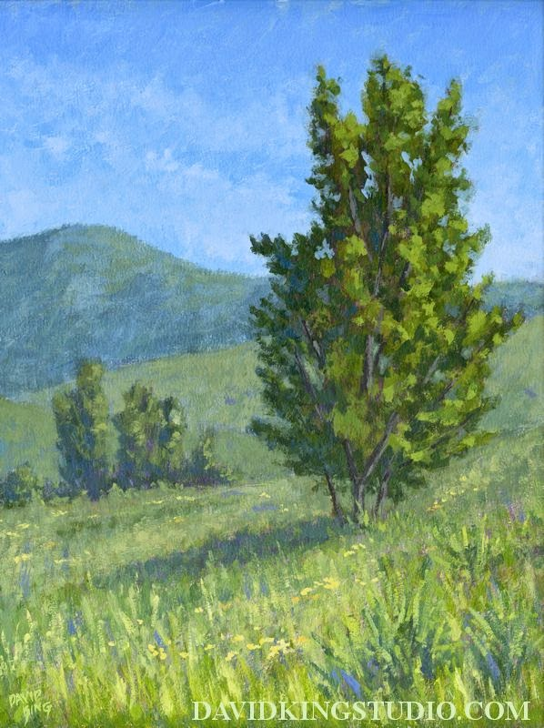 art painting landscape acrylic spring nature green tree grass