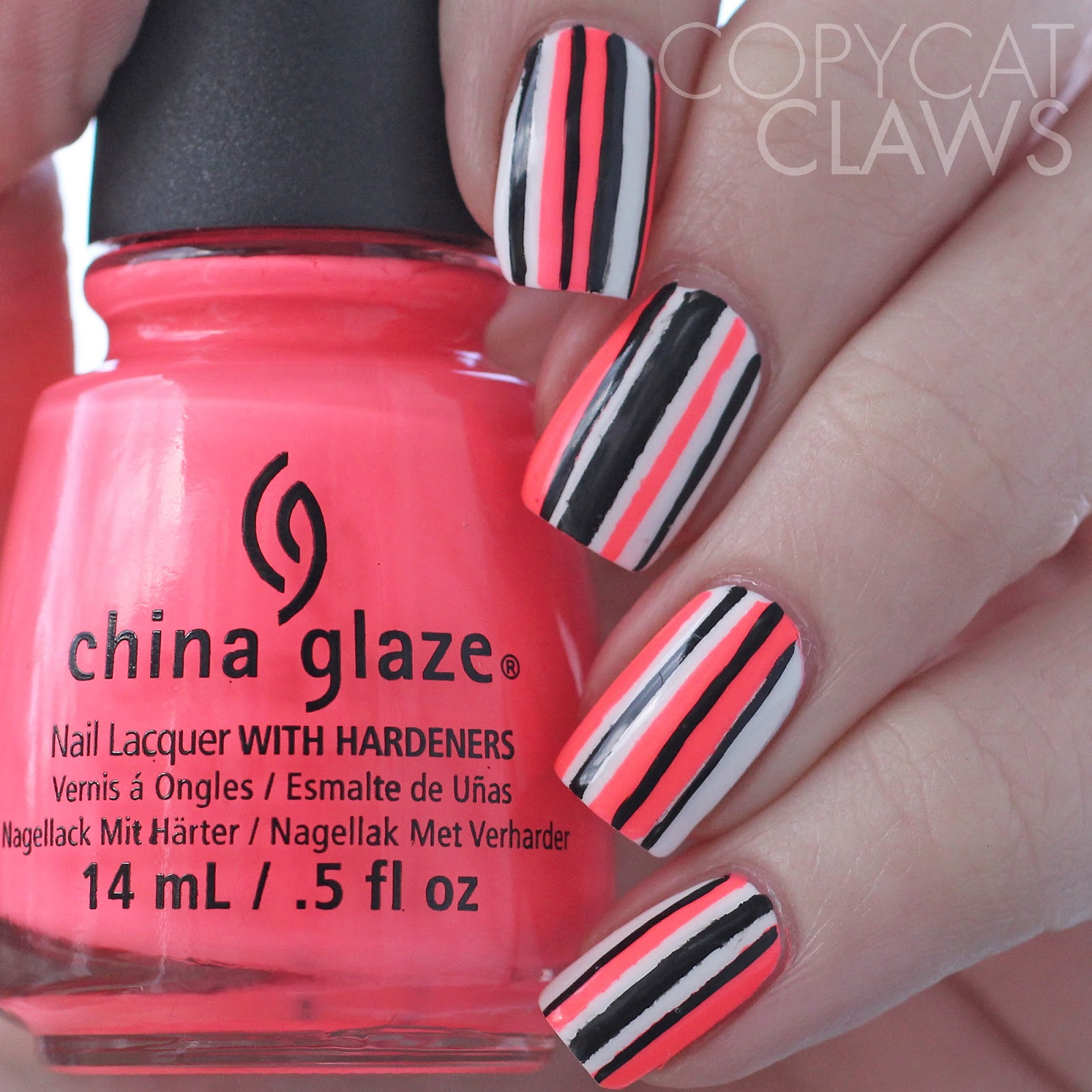 Copycat Claws Neon Striped Nail Art