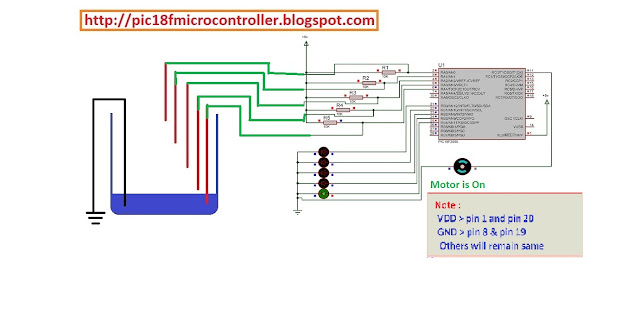 Microcontroller Project : Water Tank Controller using pic18f2550 Microcontroller