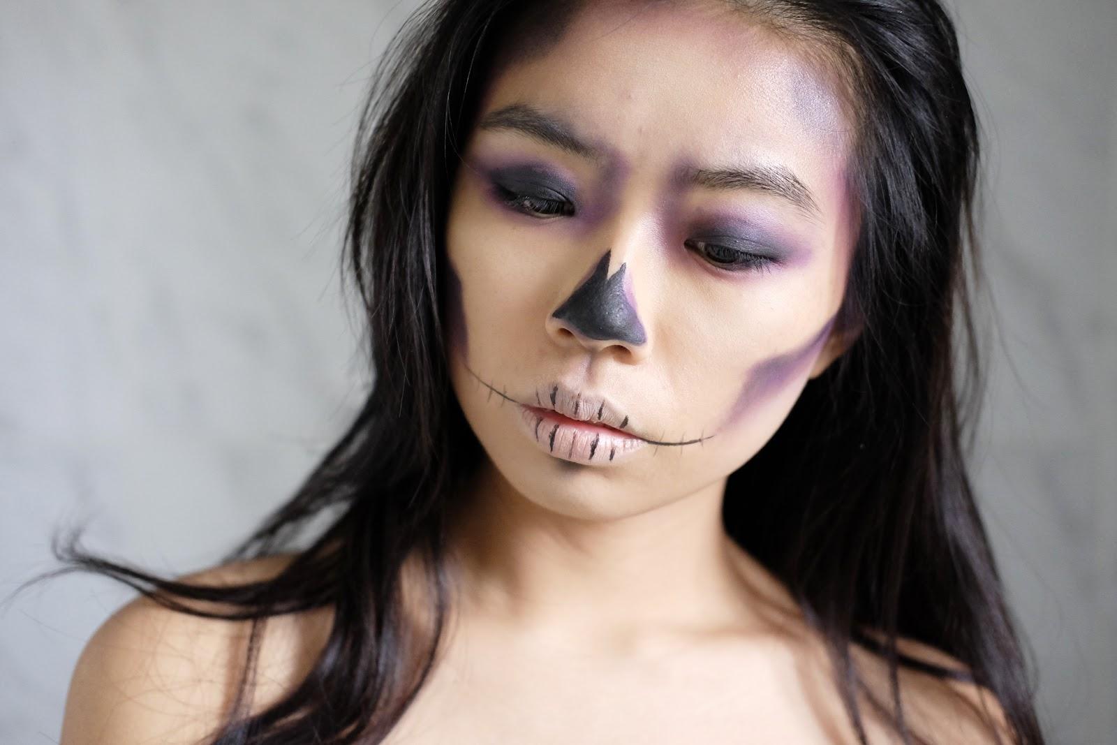 Fun size beauty halloween easy purple skull makeup chrisspy somewhere baditri Image collections