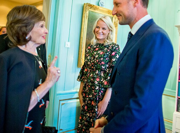 Crown Princess Mette-Marit wore ERDEM Aleena floral-print matelasse dress. Oslo Business for Peace Award 2017 at Skaugum