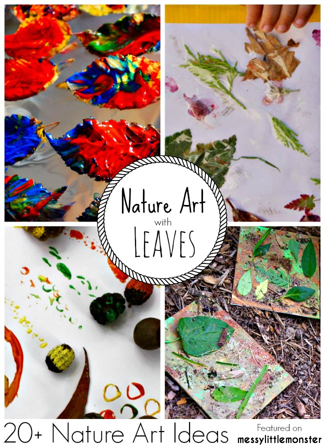Summer Nature Art and Craft Ideas for kids using leaves. 20 fun outdoor activity ideas using nature for toddlers, preschoolers and older kids to enjoy.