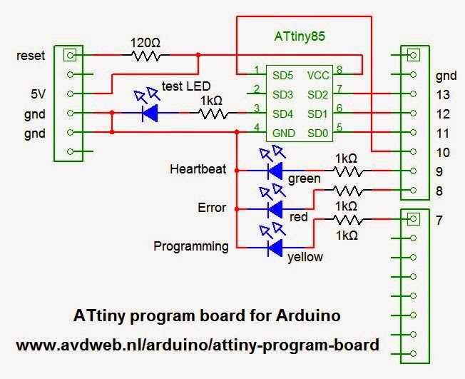 Attiny-program-board-circuit J Link Schematic on