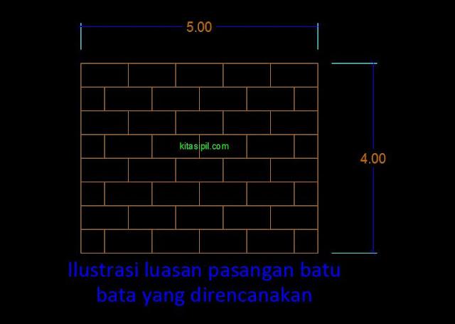 cara menghitung volume pasangan batu bata pada pekerjaan dinding