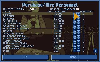 UFO X-Com Amiga Purchase Hire Personnel screen