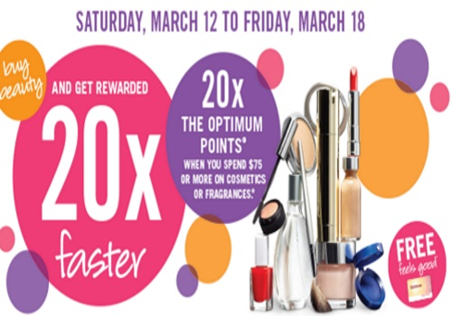 Shoppers Drug Mart 20x Optimum Points Cosmetics & Fragrance $75 Purchase