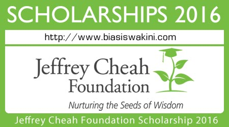 Jeffrey Cheah Foundation Community Scholarship 2016