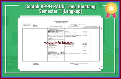 Download Contoh RPPH PAUD Tema Binatang Semester 1 Full