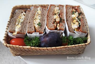 Bento #174: Rührei-Sandwich mit Tomaten und Zwetschge