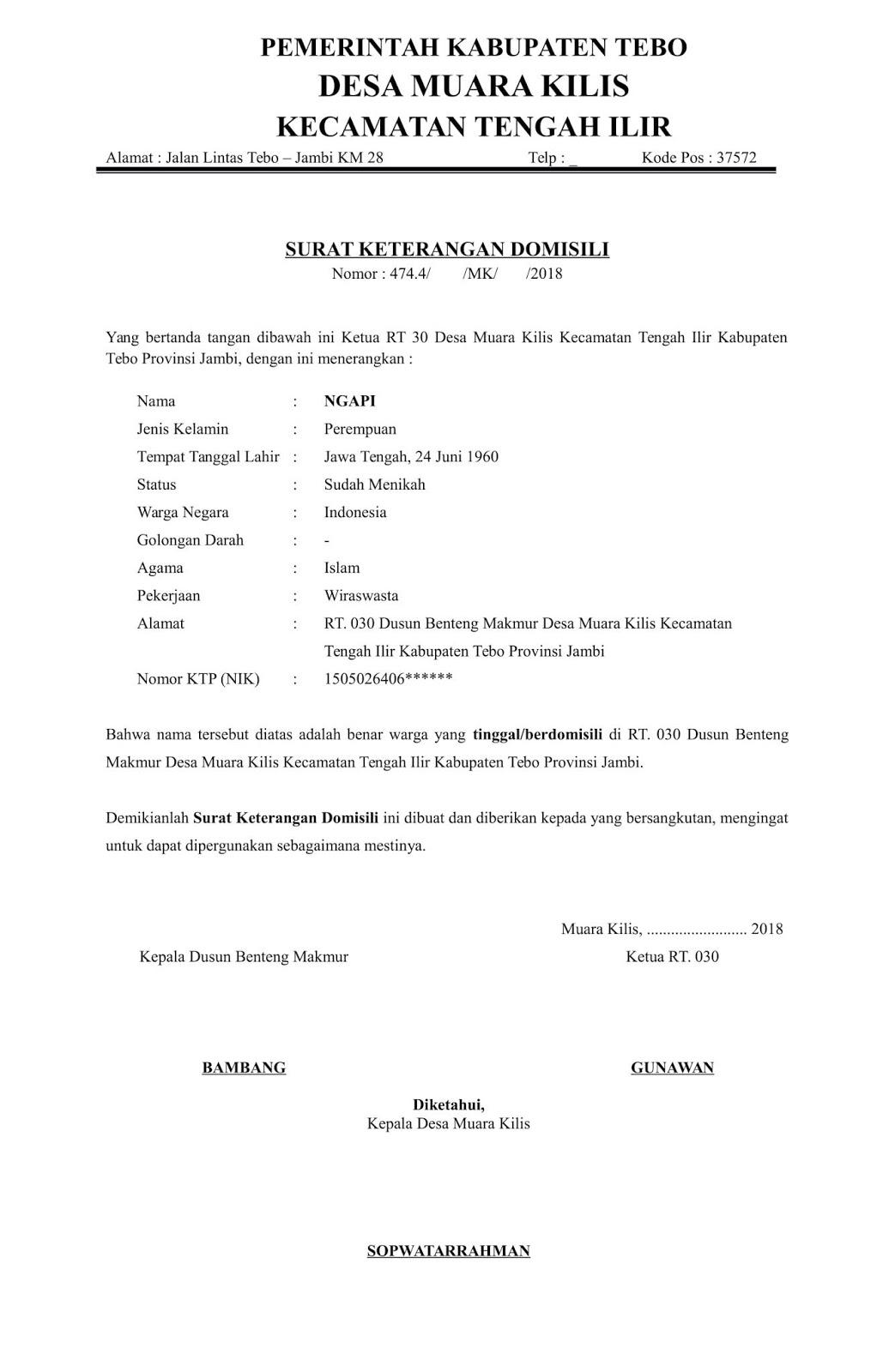 Contoh Surat Orton Contoh Surat Keterangan Domisili Dari