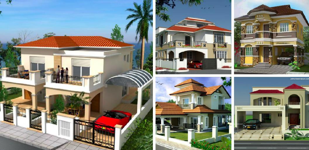 3D Houses Front Elevation Designs